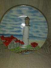 "Royal Norfolk lighthouse plate with red roofs 7-1/2"" diameter"