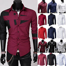 Men's Luxury Slim Fit Stylish Casual Shirts Long Sleeve Formal Dress Shirt Tops