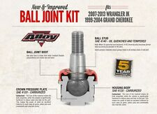 Alloy USA Ball Joint Kit 11800 Jeep Wrangler JK 07-18 & Grand Cherokee WJ 99-05