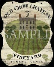 Primitive Old Crow Chateau Vineyard Saltbox Inn Tavern Sign Laser Print 8x10