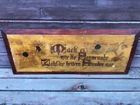 Antique Carved Folk Art GERMAN Wooden Kitchen Board w Sunflowers Motto 1800's