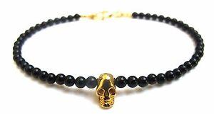Black onyx beads bead skull 14k gold plated bangle bracelet men women gemstone