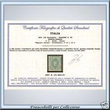 1891 Regno cent. 5 verde n. 59 Certificato ** PROPOSTA