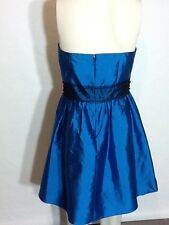 AQUA DRESSES SIZE 8 SATIN TURQUOISE PROM/WEDDING EVENING BEADED AT WAIST DRESS