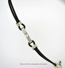 Cremation Bracelet With CZ Black And Silver Urn Jewelry - Stainless & Leather