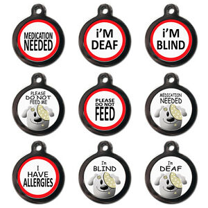 Medical Alert PET ID TAGS-Deaf Blind Medication Needed Do Not Feed-Engraved FREE