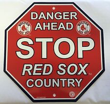 Boston Red Sox Stop Sign Room Bar Decor NEW