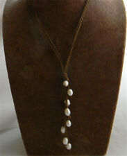 "20"" Handmade Rice-shape White Freshwater Pearl Pendant Necklace"