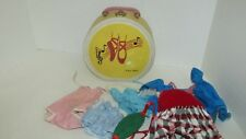 Air Flite vintage round travel case w/ ballet slippers + USED doll clothes