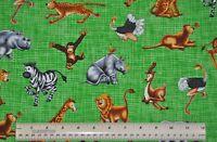 1/2 yard cotton quilt fabric On Safari Jungle Animals on green zebra tiger hippo