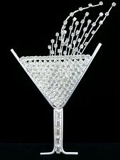 "(W) HUGE 6"" Crystal Prong Rhinestone Cocktail Martini Wine Wedding Brooch Pin"