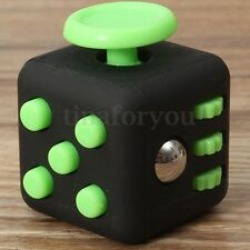 Black&Green Figet Magic Focus 6-side Cube Dice Toy Stress Relief For Adults Kids