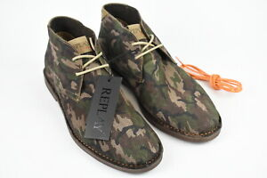 Rrp Replay Conner Hommes UK 11.5 Eur 46 Camouflage Daim Bottines 19241