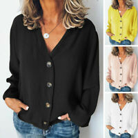Long Blouse V Women Buttons Top Sleeve Plain Shirt Neck Casual Tops Loose