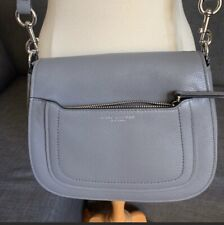 MARC JACOBS Empire City Large Messenger Leather Crossbody Bag Shadey Grey Color
