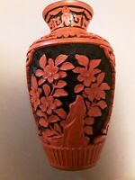 Chinese Vintage Carved Red on Black Cinnabar Lacquer and Blue Enamel Vase PRETTY
