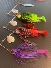 3x 1/2oz Cod Spinnerbaits Spinner Soft Plastic Grub Jig Yellowbelly Lures Bass