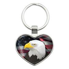 USA Bald Eagle Bird Head Pewter Metal Emblem Metal Ring Key Chain KEY CHAINS
