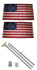 3x5 Fort Sumter SC 33 Star 2ply Flag Aluminum Pole Kit Set 3'x5'