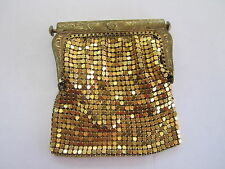 * YELLOW GOLD PLATED MESH VINTAGE COIN PURSE CHANGE PURSE VINTAGE EVENING BAG