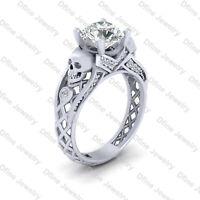 2.25cttw Diamond Skull Engagement Ring Skull Wedding Ring 925 Sterling Silver