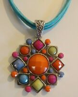 Vintage Lucite Statement Necklace Pendant Summer Multi Color Beads Jewelry