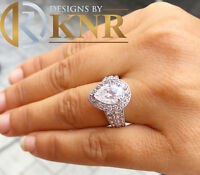 14k White Gold Pear Moissanite And Natural Diamonds Engagement Ring Halo 4.40ctw