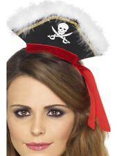 Mini Pirate Hat On Headband Black Ladies High Seas Fancy Dress New