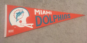 """1970s Vintage Miami Dolphins Full Size NFL Football Pennant30 X 12"""""""
