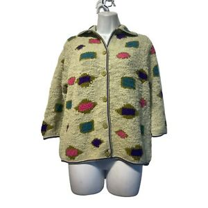 ilaria italy hand knit pastel Button Up Long Sleeve cardigan sweater