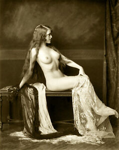 """Alfred Cheney Johnston - Nude Woman Seated Boudoir (1920s) - 17"""" x 22"""" Art Print"""