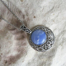 Large Size Silver Tone & BLUE AGATE Statement PENDANT & Long Chain Necklace
