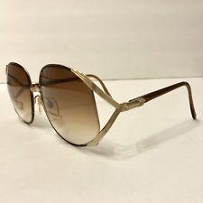 Vintage Flair Show Big Eye Brown Gold Plastic Frame Eyeglasses Sun Glasses Japan
