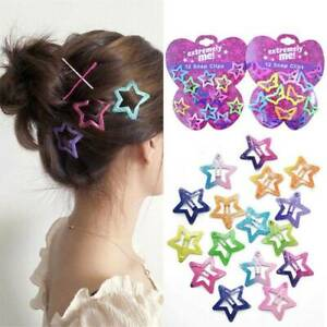 12PCS/Set Kids Barrettes Girls' BB Clip Candy Color Butterfly Star Hair Clips