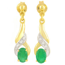 NATURAL EMERALD EARRINGS. PRETTY EMERALDS + 6 GENUINE DIAMONDS. 9K SOLID GOLD.