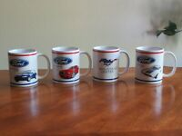 4 Officially Licensed FORD MUSTANG Mug Cup 1999 Coupe 2014 GT 1972 Sprint Unites