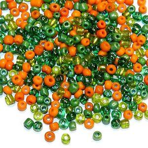 SB1928sp Sassy Salsa Orange & Green 6/0 4mm Glass Seed Bead Premium Mix 1oz