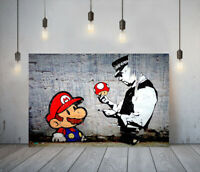 BANKSY MARIO AND COP -DEEP FRAMED CANVAS WALL ART PICTURE PAPER PRINT- RED BLUE