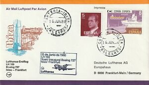 1980 Spain cover first flight from Ibiza to Frankfurt by Boening-727 Lufthansa