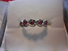 Ruby Stainless Steel 5-Stone Heart Ring-Size 7-0.30 Carats