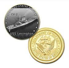 U.S. United States Navy | USS Lexington CV-2 | Gold Plated Challenge Coin