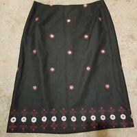 Oscar de la Renta Wool Stretch Skirt Black Embroidered Pencil Zip Lined Women 4p