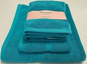 NWT KATE SPADE Towels Harrington Turquoise Cotton Bath Hand Wash Cloth ChooseSet