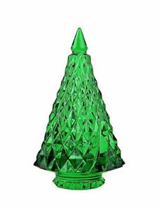 Baccarat Crystal Green Diamant Fir Christmas Tree NEW With RED BOX SET!!