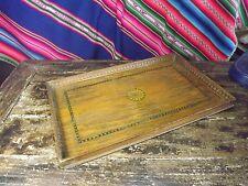 Antico In Legno Vassoio Dipinto Decorazione Bordo Intagliato 18X11IN