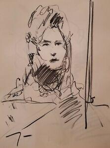 "JOSE TRUJILLO Original Charcoal on Paper Sketch Drawing 18X24"" Portrait A006"