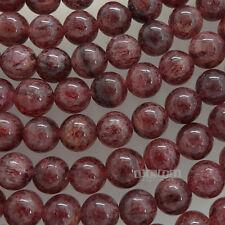 "15"" Natural Red Pink Strawberry Quartz Round Beads ap. 8mm #21170"