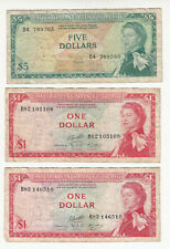 East Caribbean States 3x heavily circ. banknotes 1965 QEII @ low start