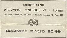 W6219 Prodotti Chimici Giovanni Macciotta - Torino - Pubblicità 1934 - Advertis.