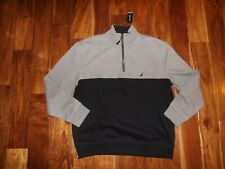 Nwt Mens Nautica Gray True Black 1/4 Zip Pullover Sz M Medium
